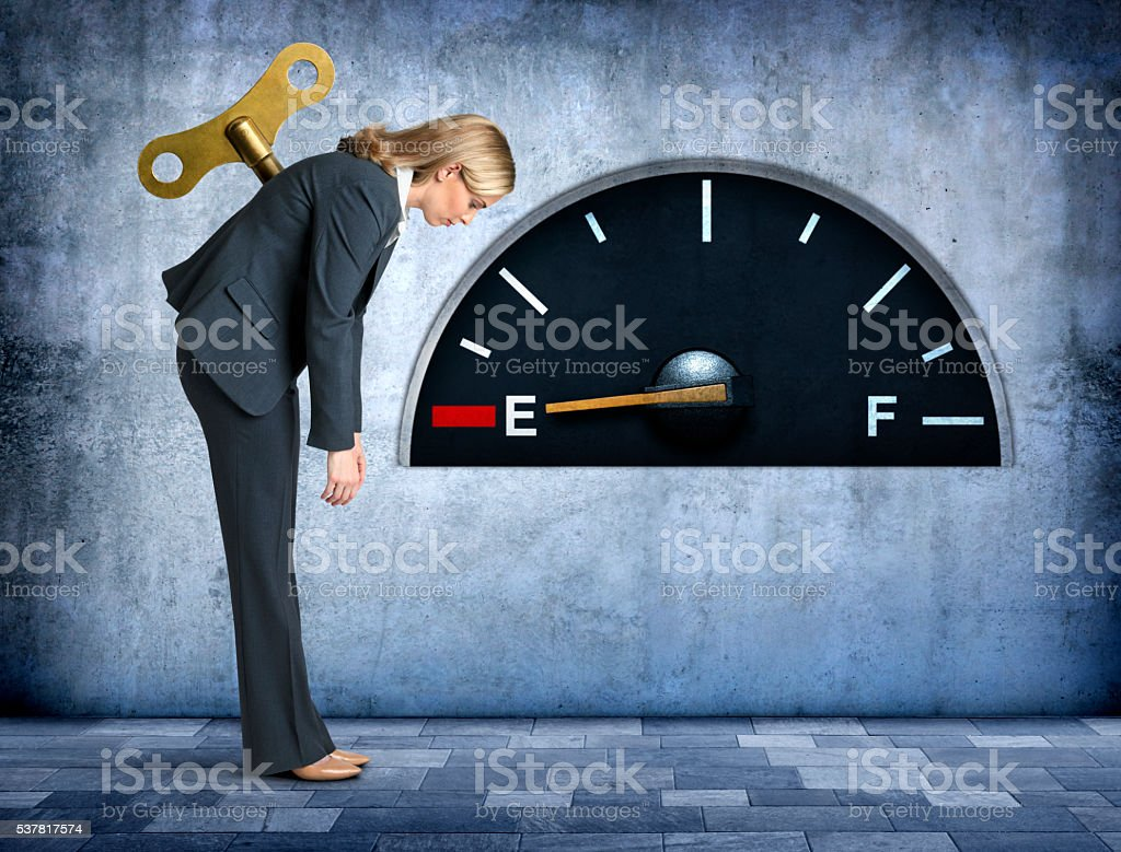 Businesswoman Completely Out Of Fuel stock photo
