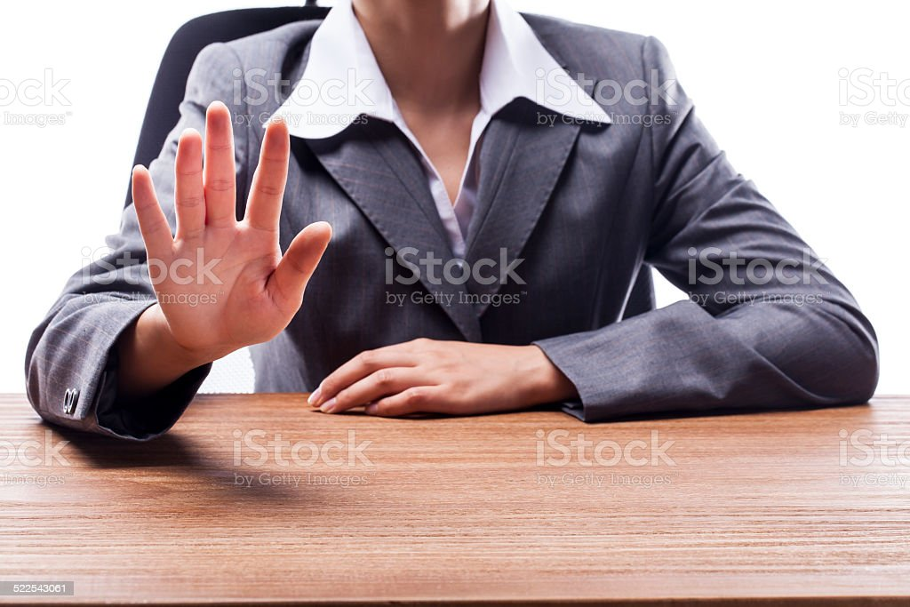 Businesswoman Counting Five stock photo