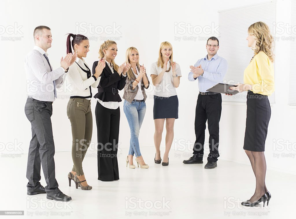 Businesswoman Demonstrating Plan of work royalty-free stock photo