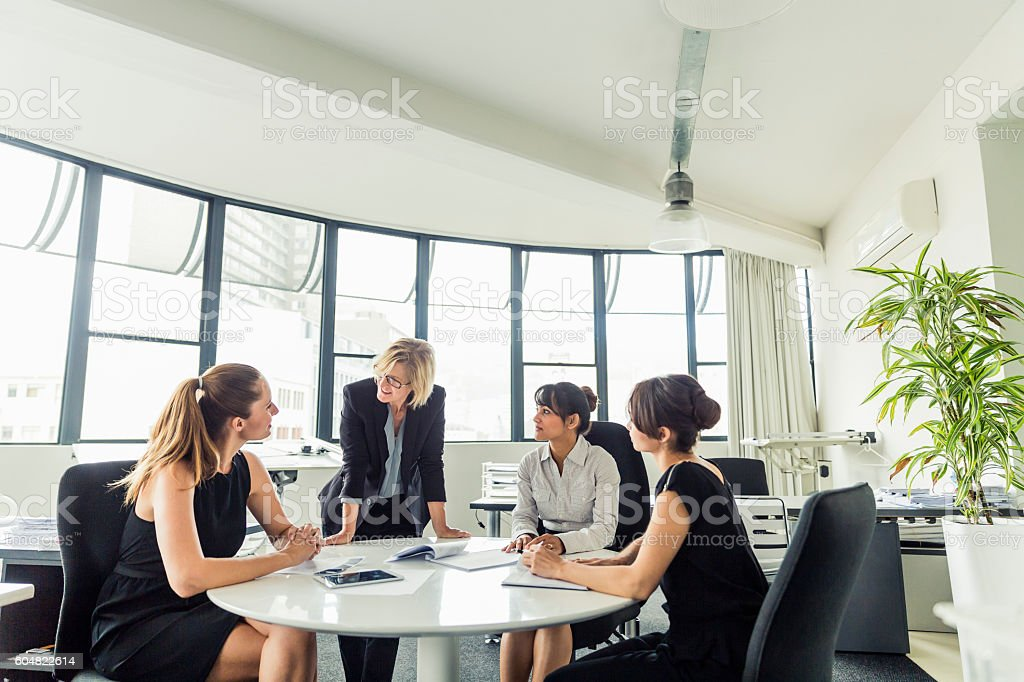 Businesswoman discussing with executives at office stock photo