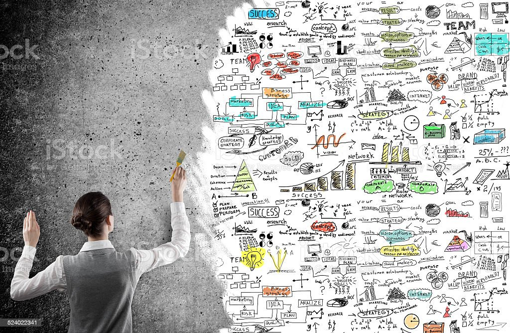 businesswoman drawing a business plan stock photo