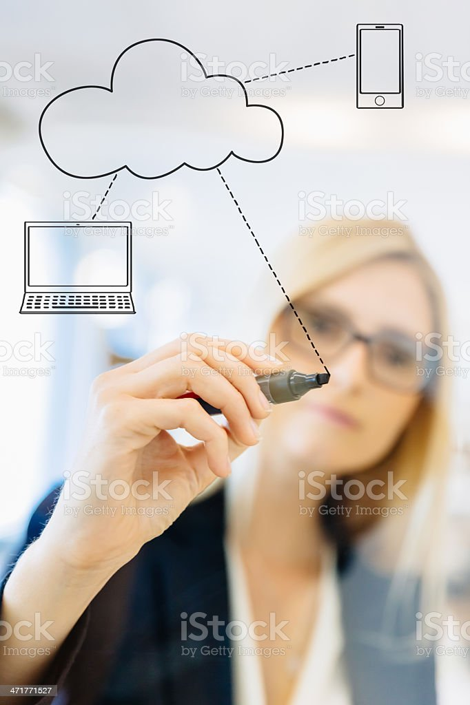 Businesswoman Drawing Cloud Computing Diagram royalty-free stock photo