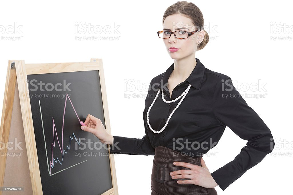 Businesswoman Drawing Graph stock photo