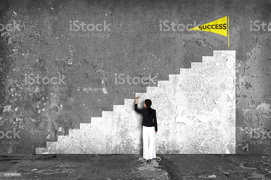 businesswoman drawing  ladder of success on the wall vector art illustration