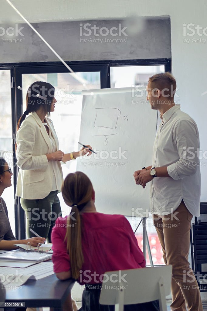 Businesswoman drawing on flipchart stock photo