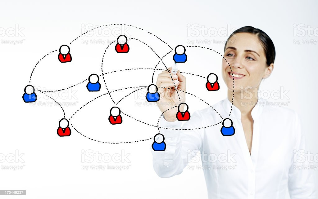 Businesswoman drawing social network royalty-free stock photo