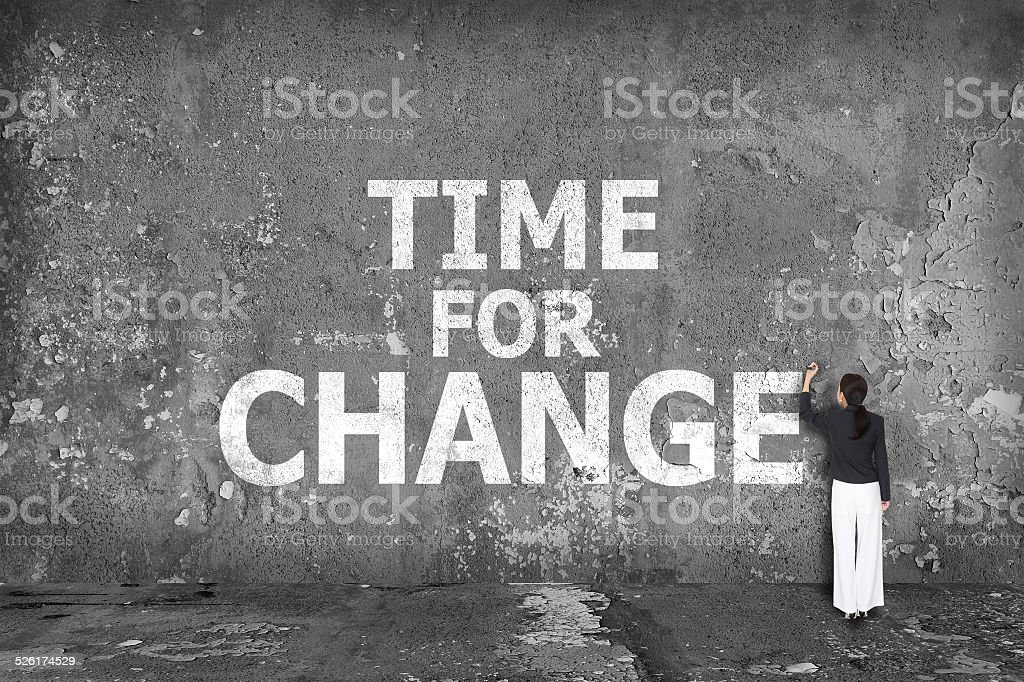 businesswoman drawing time for change on the wall stock photo