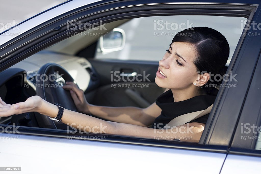 Businesswoman driver is angry stock photo