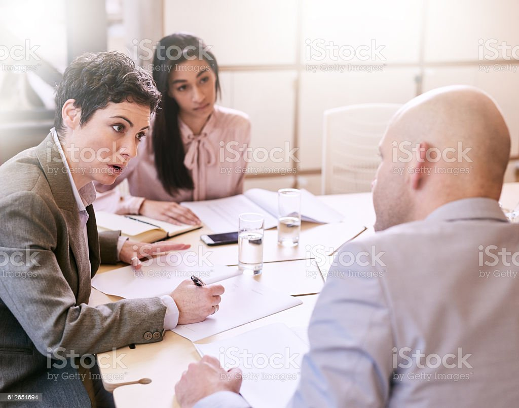 Businesswoman explaing her execution plan to two professional colleagues stock photo