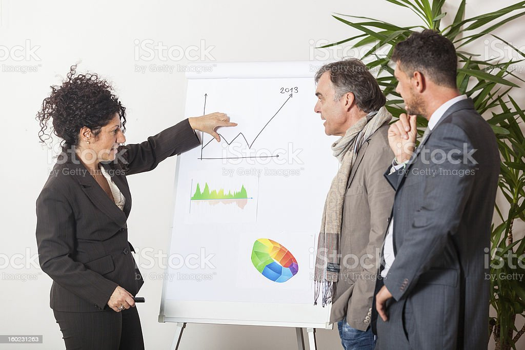 Businesswoman Explaining Charts to Her Male Colleagues royalty-free stock photo
