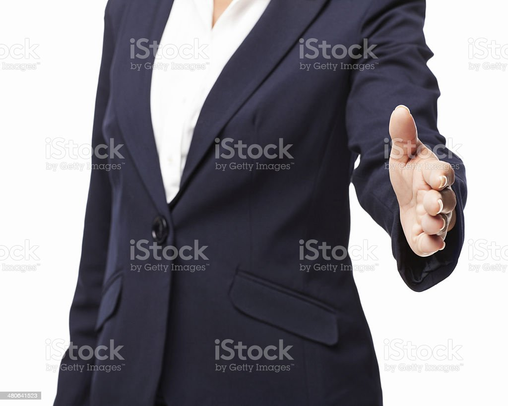 Businesswoman Extending Her Arm For a Handshake - Isolated royalty-free stock photo
