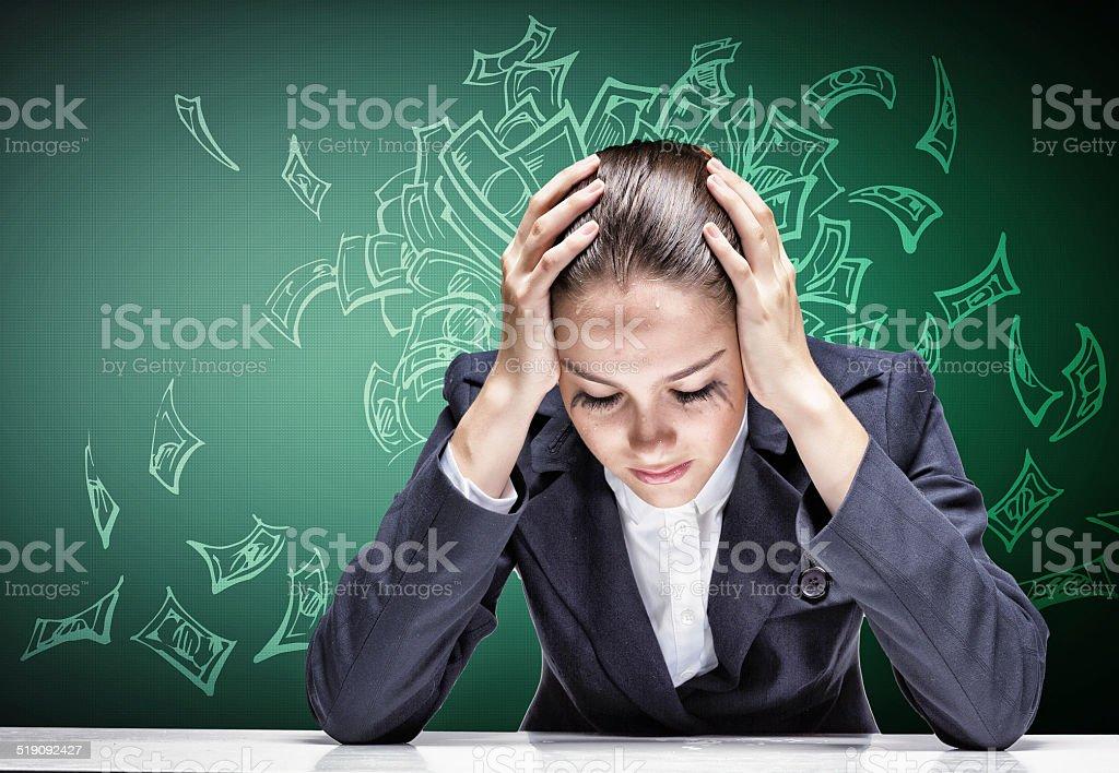 Businesswoman facing problems stock photo