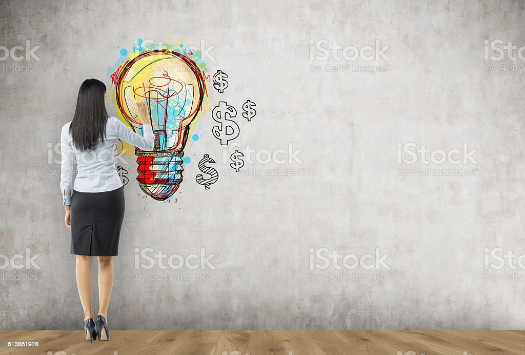 Businesswoman finding a new way to make money stock photo