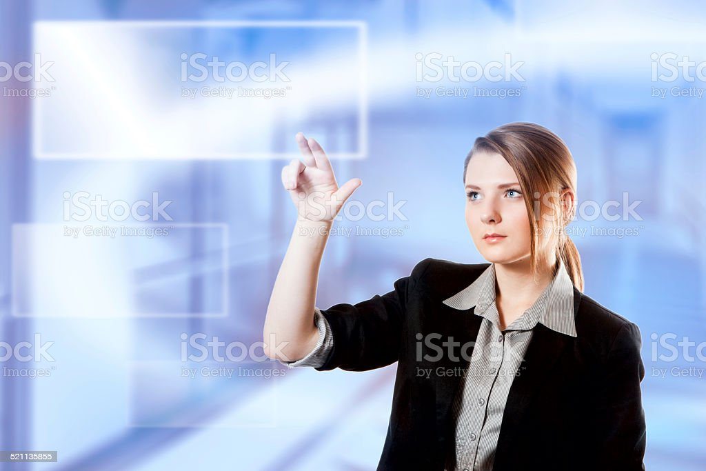 Businesswoman finger touch pad keyboard digital light screen stock photo