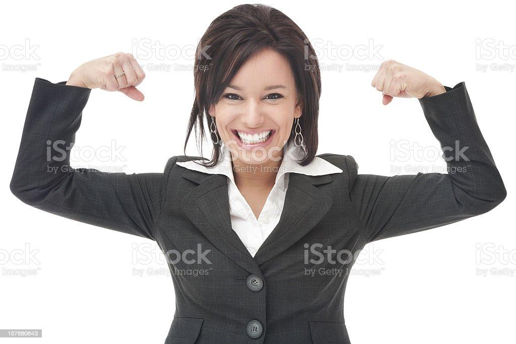 Businesswoman Flexing Muscles stock photo