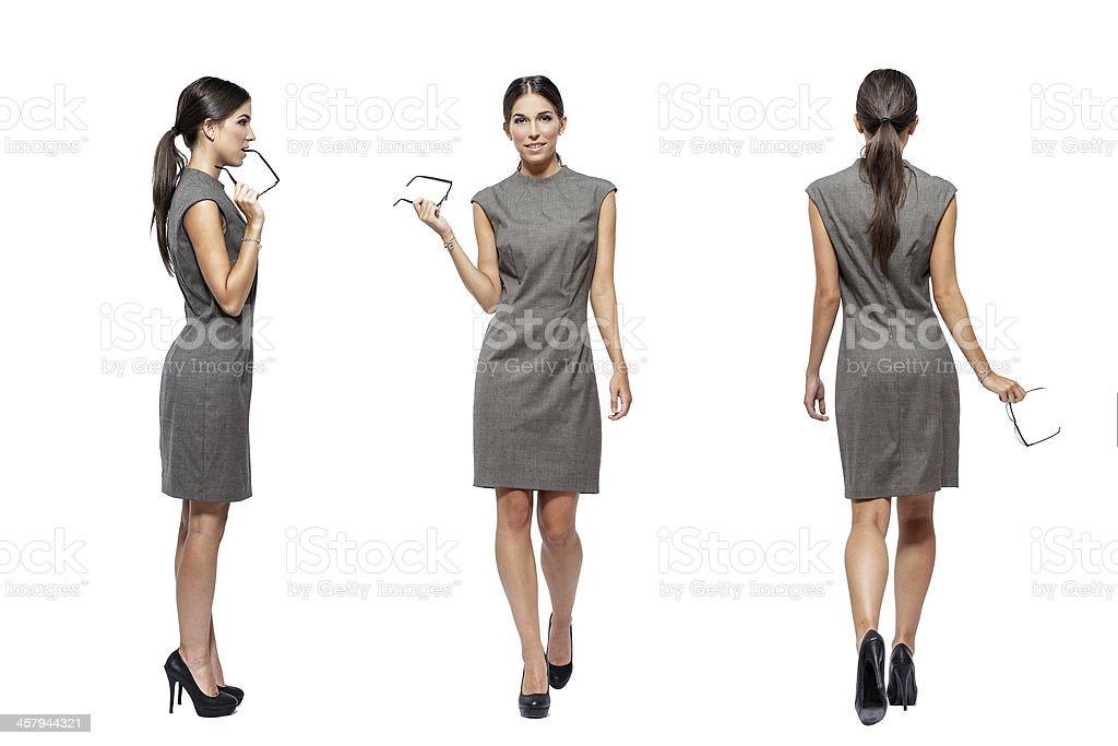 Businesswoman front side back view royalty-free stock photo