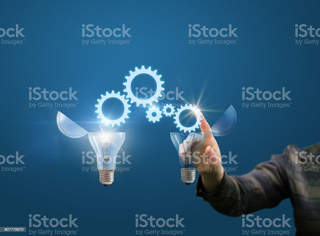 businesswoman generates ideas stock photo