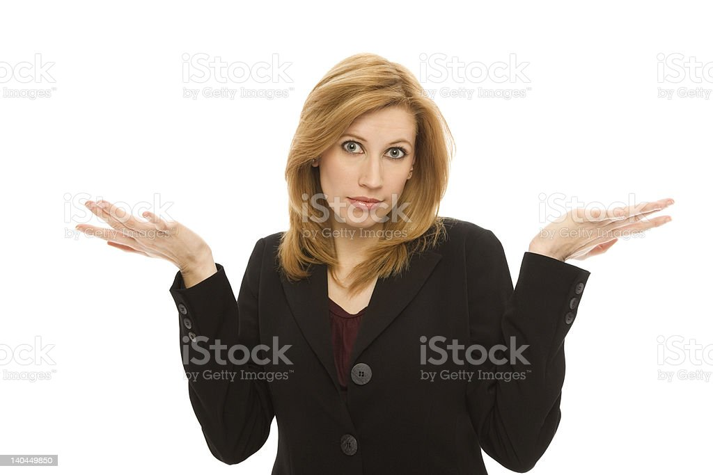 Businesswoman gestures confusion royalty-free stock photo