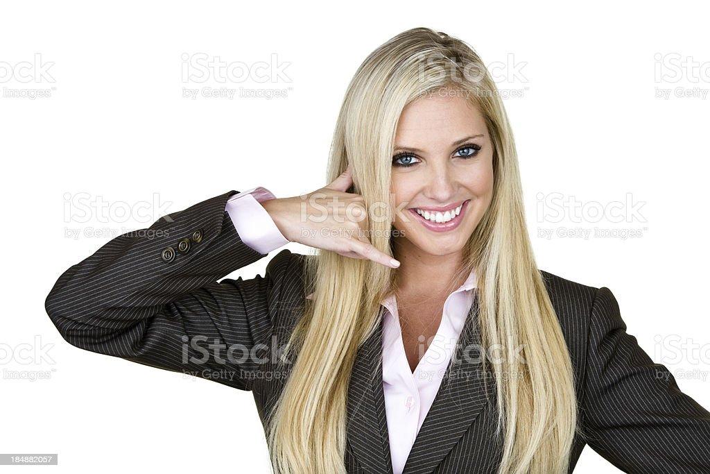 Businesswoman gesturing call me stock photo