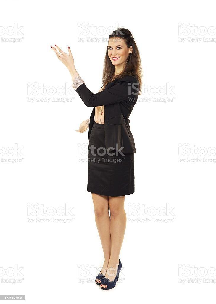 Businesswoman Gesturing in Copyspace stock photo
