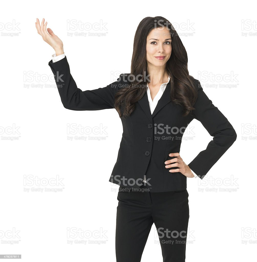 Businesswoman Gesturing Isolated on White Background royalty-free stock photo