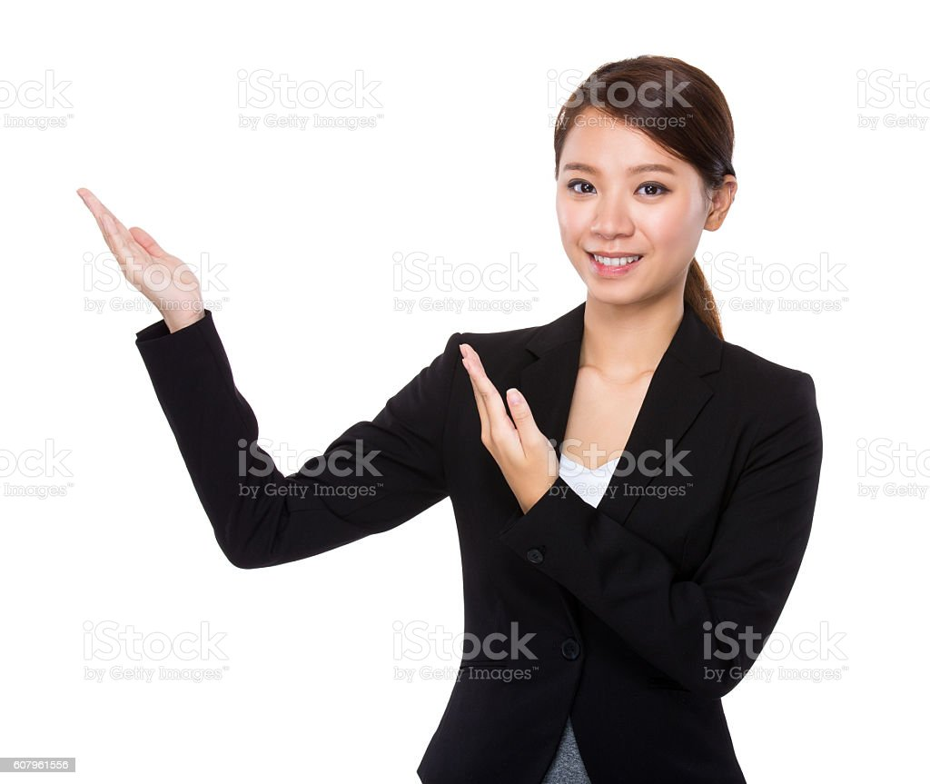 Businesswoman gesturing stock photo