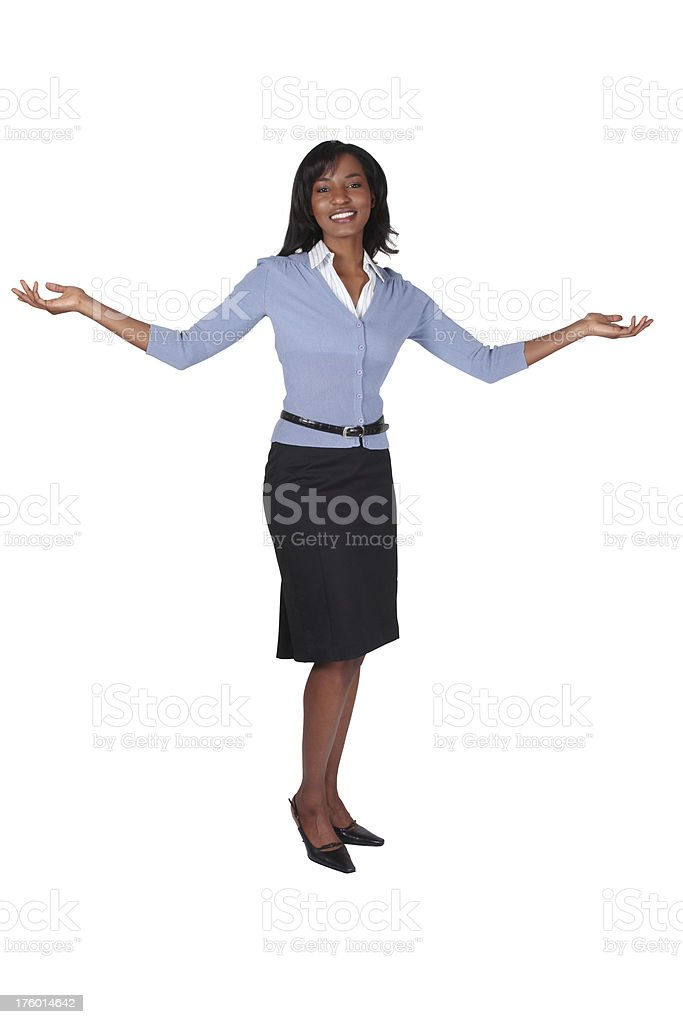 Businesswoman gesturing with open arms royalty-free stock photo