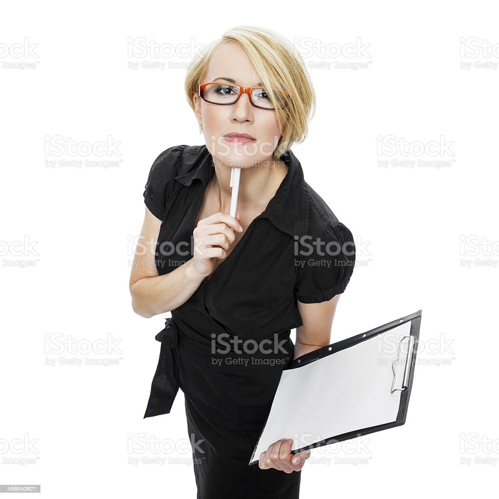 Businesswoman Gesturing With Pen royalty-free stock photo