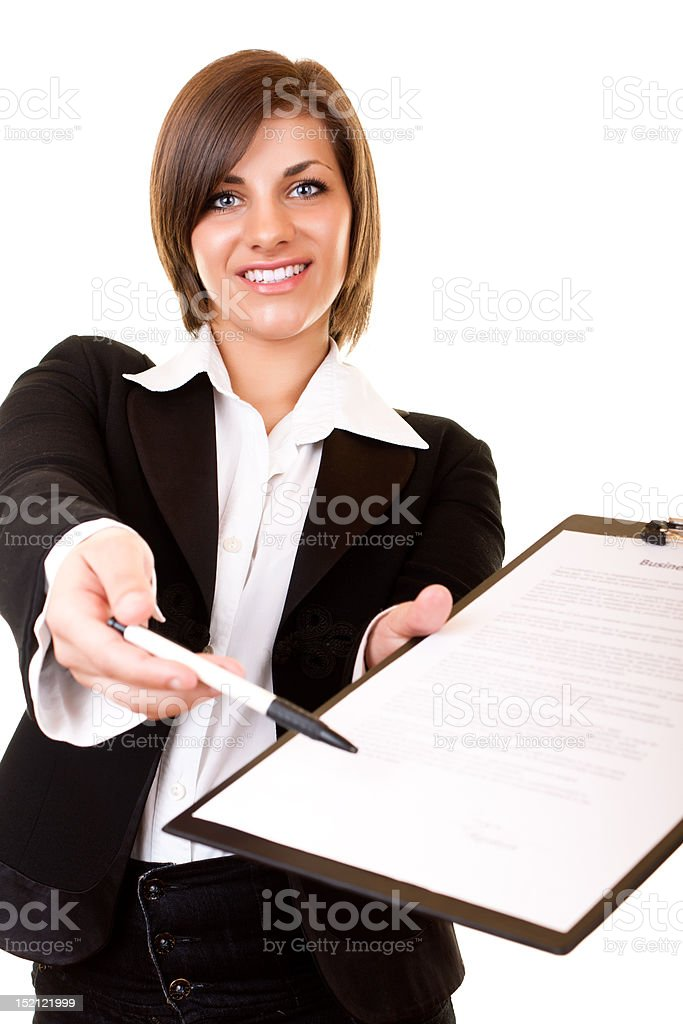 businesswoman giving contract royalty-free stock photo
