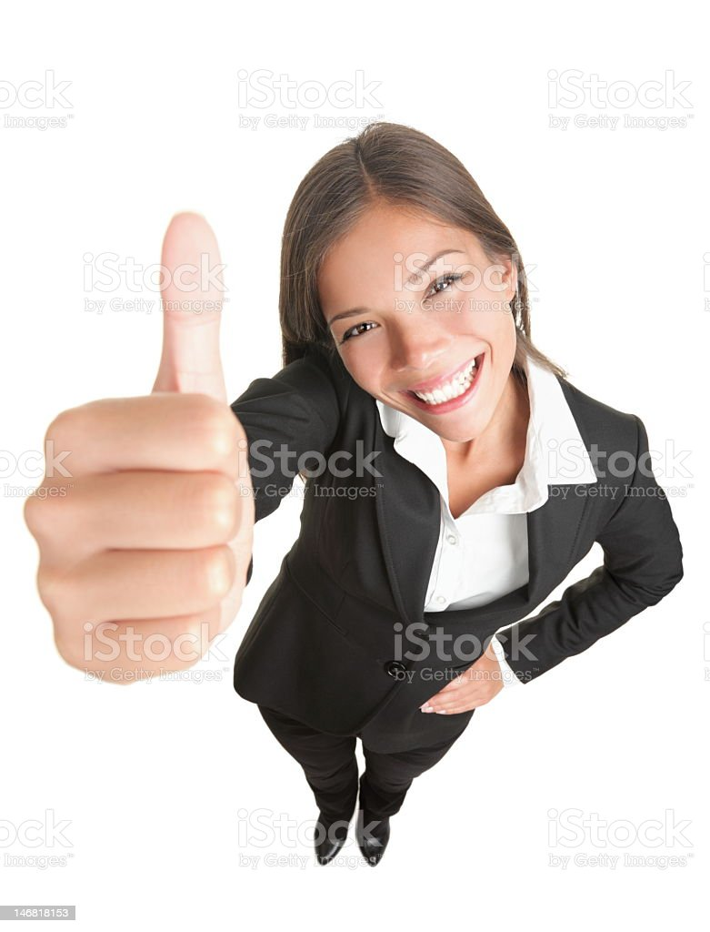 Businesswoman giving hands up to camera royalty-free stock photo