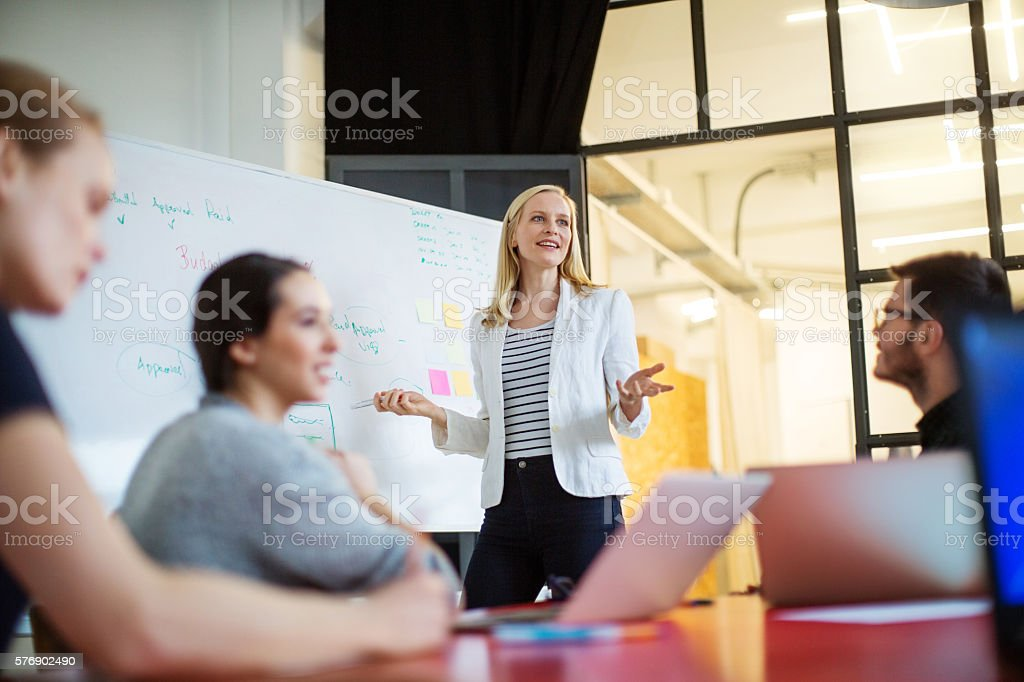Businesswoman giving presentation on future plans to colleagues stock photo