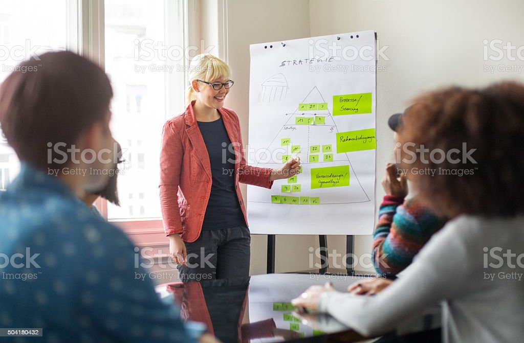 Businesswoman giving presentation to her colleagues stock photo