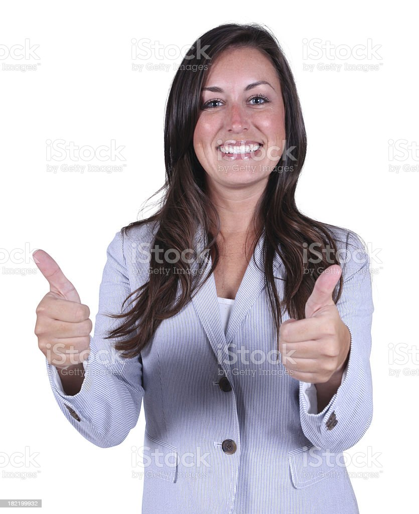 Businesswoman giving thumbs up royalty-free stock photo