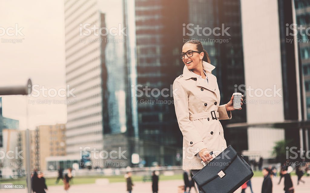 Businesswoman going to work stock photo