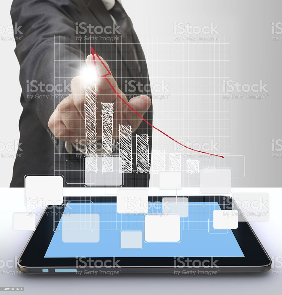 businesswoman hand and grow graph royalty-free stock photo