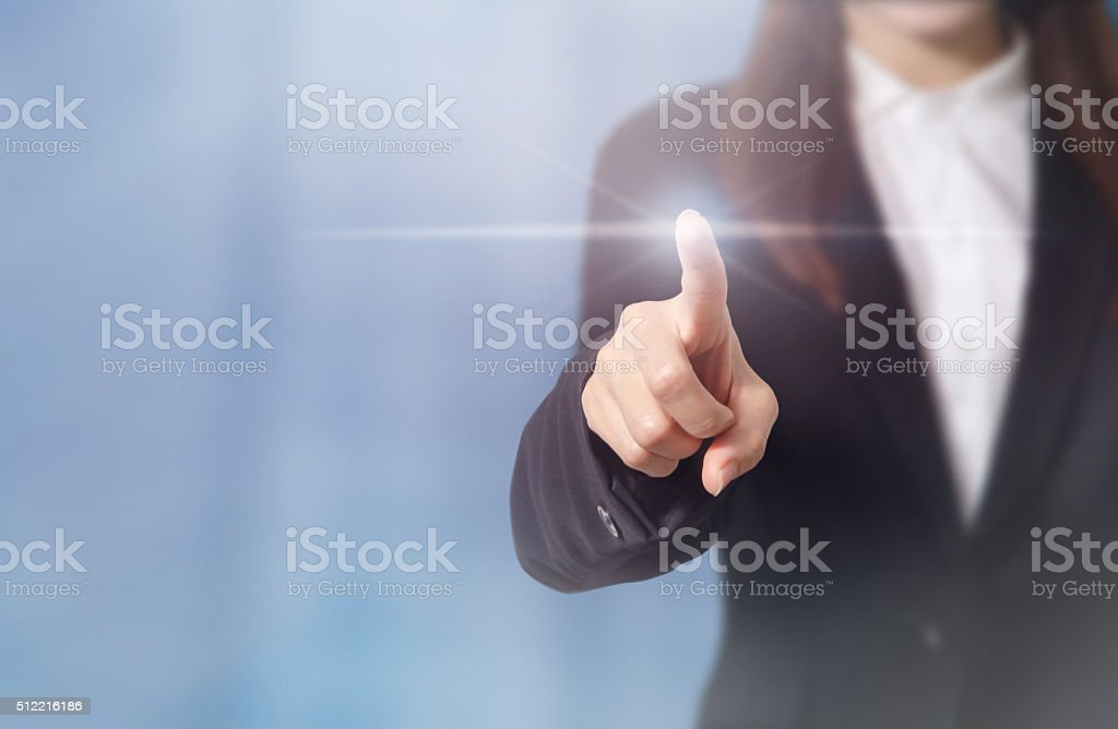 businesswoman hand pressing button stock photo