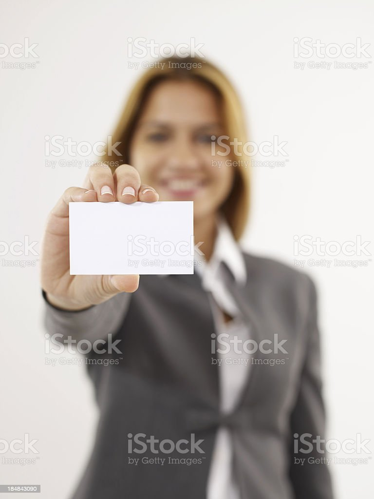 Businesswoman Handing Business Card stock photo