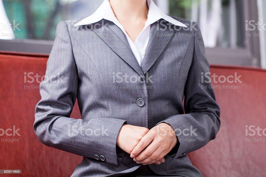 Businesswoman Hands Folded stock photo