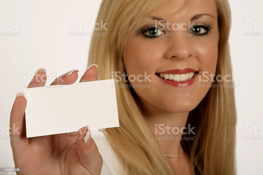 Businesswoman hands, woman holding Card royalty-free stock photo