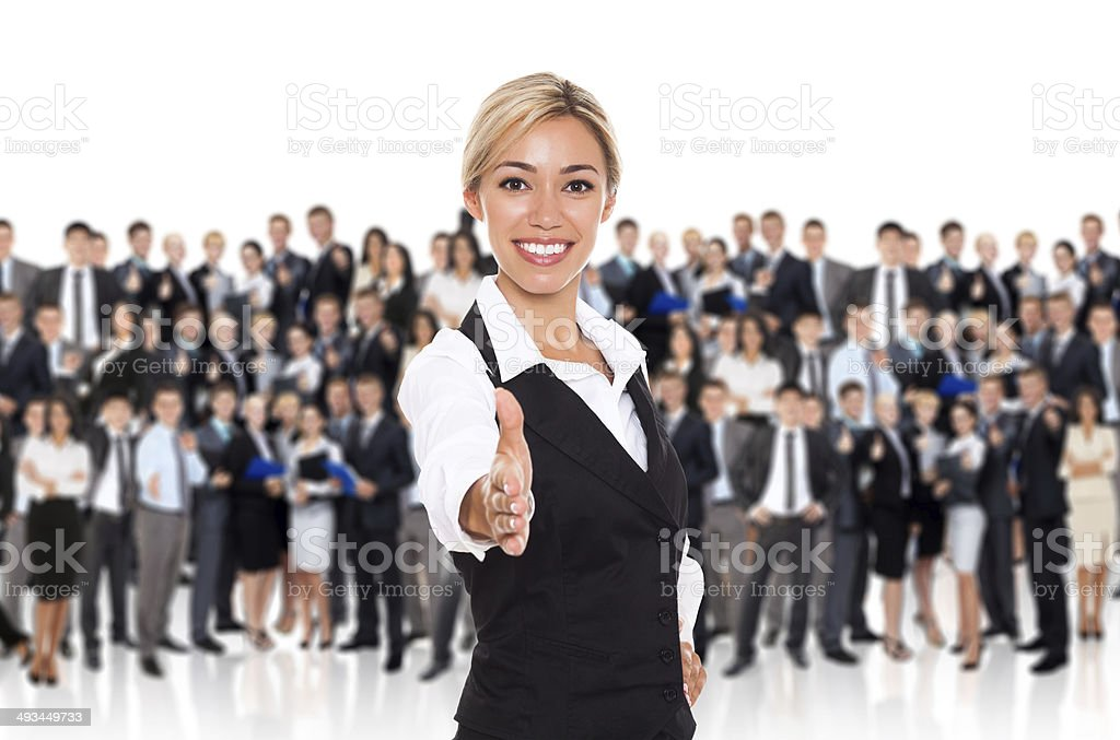 businesswoman hanshake stock photo