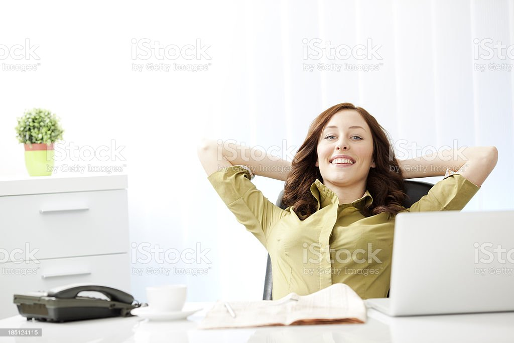 Businesswoman Having Coffee Break. stock photo