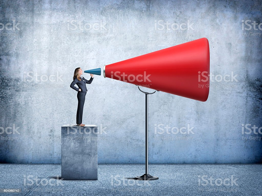 Businesswoman Having Her Voice Amplified – Foto