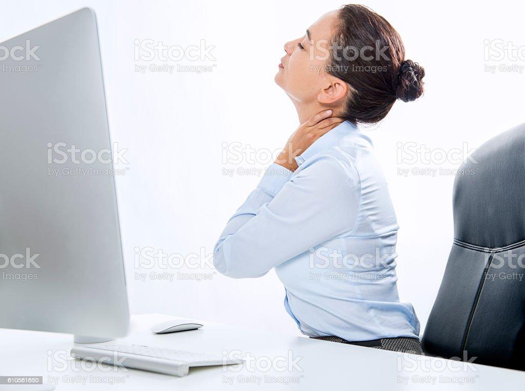 Businesswoman Having Neckache stock photo