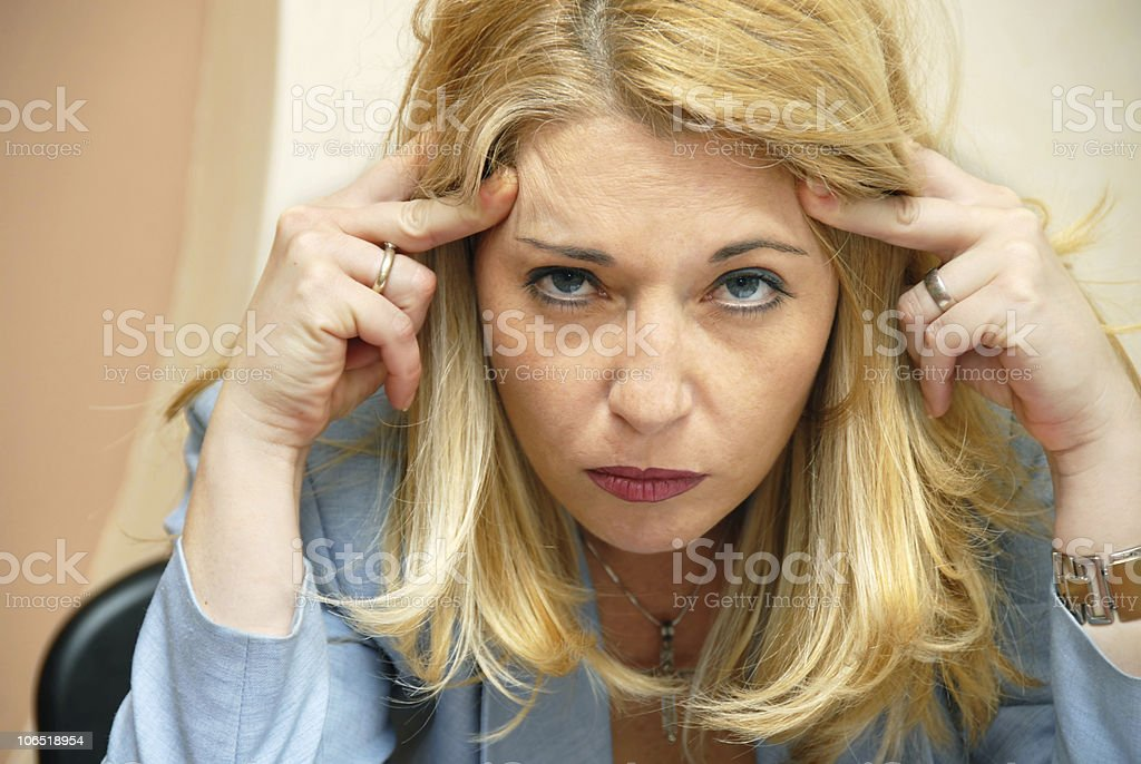 Businesswoman headache royalty-free stock photo