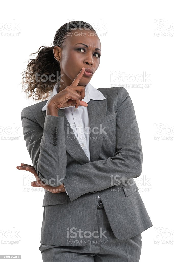 Businesswoman hesitating stock photo