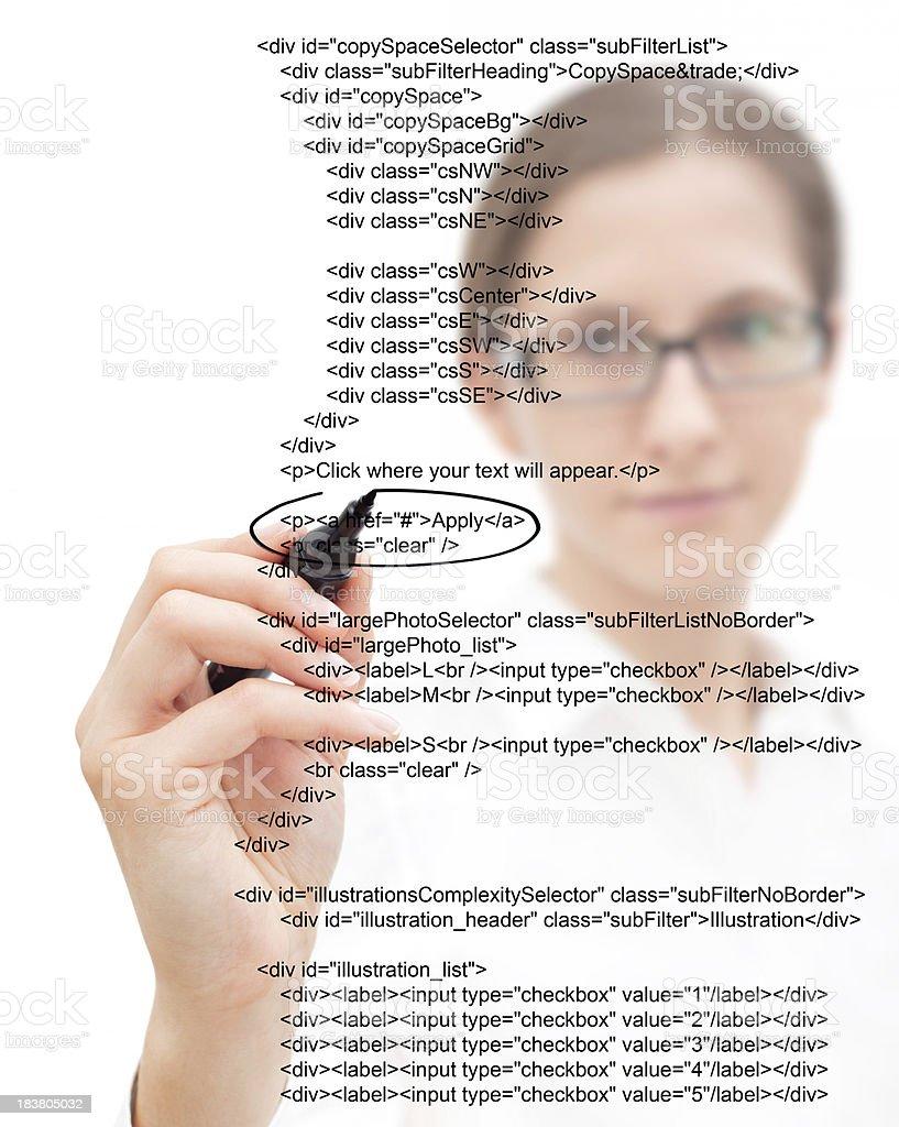 Businesswoman Highlighting Script stock photo
