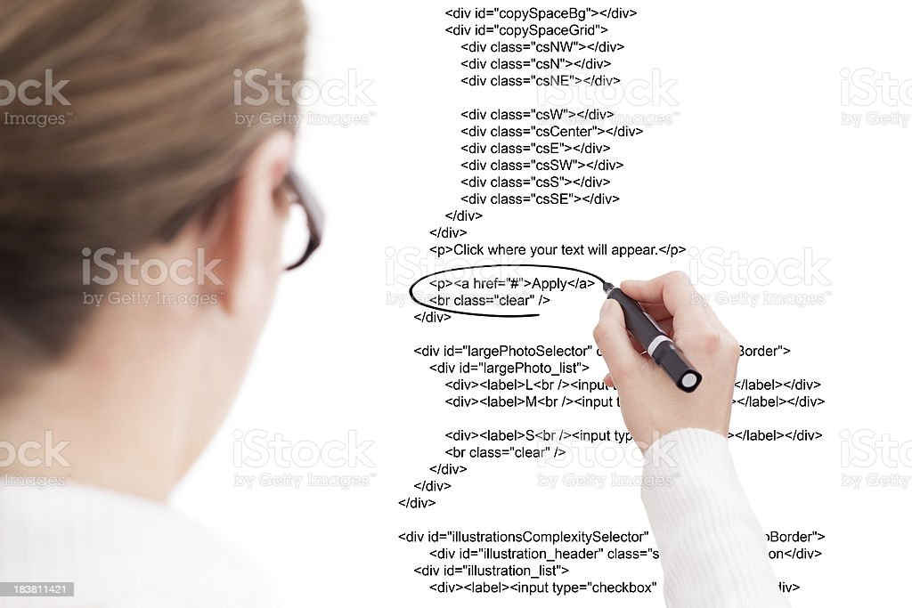 Businesswoman Highlighting Script royalty-free stock photo