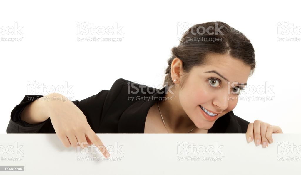 Businesswoman holding a billboard royalty-free stock photo