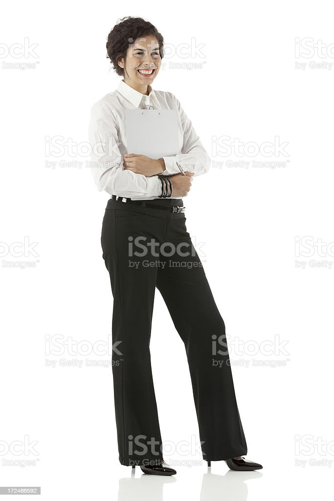 Businesswoman holding a clipboard royalty-free stock photo