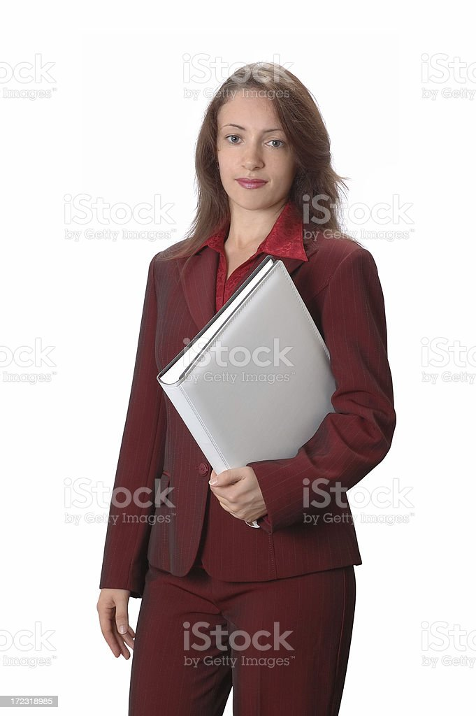 Businesswoman holding a white file royalty-free stock photo